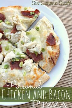 Personal Chicken Bacon Alfredo Pizza Recipe from sixistersstuff.com #pizza #alfredo #recipe