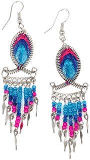 Stainless Steel Peruvian Pink & Blue Silk Thread Beaded Fish Dangle Earrings