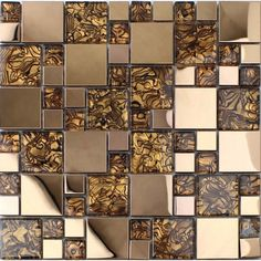 Gold stainless steel backsplash for kitchen and bathroom metal and glass mosaic tile patterns cheap shower wall tiles design Glass Mosaic Tile Backsplash, Stainless Backsplash, Beadboard Backsplash, Mosaic Glass, Granite Backsplash, Herringbone Backsplash, Backsplash Ideas, Tile Ideas, Rustic Backsplash