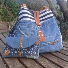 Sac cabas createur en jeans + son porte monnaie compagnon