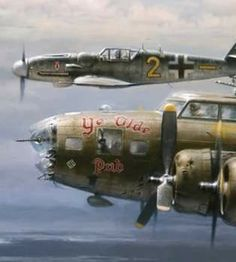 WWll German flying ace escorted a US rookie pilot, flying a crippled bomber, out of Germany.