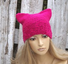 Knit Hat Cat Beanie Hat PINK nitted Beanie Cat hat Women's Knitted Outer wear Cute Outside Warm Adult Teen Comfortable