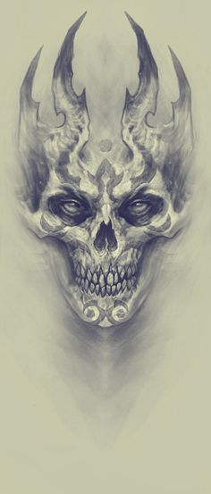 Demon, Kazimirov Dmitriy - Beautiful Skull More - . - Demon, Kazimirov Dmitriy – Beautiful Skull More – - Skull Tattoo Design, Skull Design, Skull Tattoos, Body Art Tattoos, Tattoo Drawings, Art Drawings, Tattoo Designs, Evil Skull Tattoo, Demon Drawings