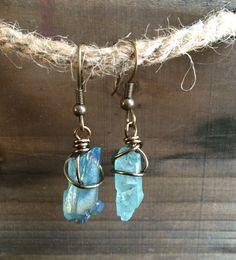 Aquamarine Crystal Earrings by SweetLittleGem on Etsy