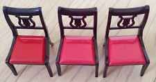 Ideal Dollhouse Chairs I-948, 3 Red And Brown Vintage Plastic Toy Furniture