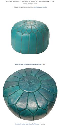 SERENA AND LILY TURQUOISE MOROCCAN LEATHER POUF vs OVERSTOCK'S LEATHER AQUA GREEN POUF OTTOMAN