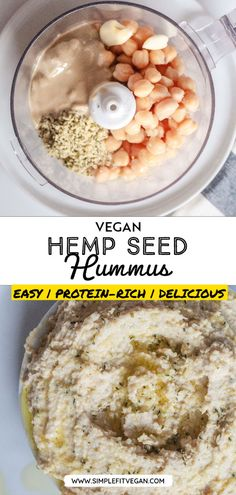 Smooth and nutty Hemp Seed Hummus is easy to make and perfect to eat as a snack, dip, and as a spread on sandwiches and wraps! #hummus #hempseeds Best Vegan Recipes, Vegan Dinner Recipes, Vegan Desserts, Vegetarian Recipes, Vegan Sauces, Vegan Dishes, Vegan Lunches, Vegan Meals, Vegan Food
