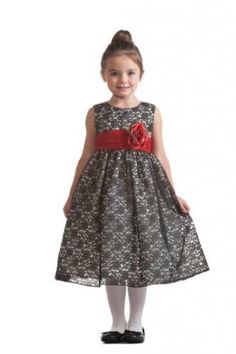 maybe if red with a little black... want gray instead...  Amazon.com: Crayon Kids Fashion Girl's Flower Dress With Satin Waist: Clothing