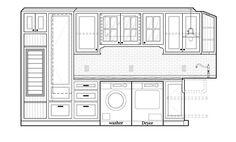 Laundry room Living Room Elevation, Kitchen Elevation, Coupes Architecture, Architecture Details, Cupboard Design, Kitchen Design, Sofa Design, Interior Design, Elevation Drawing