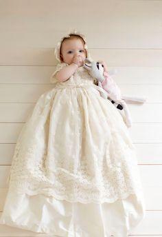 Stunning Floor-length Beige/Ivory/White Vintage Baptism Dresses with Bonnet Baby Boys Clothe Girls Christening Gown 2015 KV-77