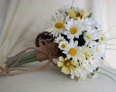 burlap daisy wedding bouquet - Google Search