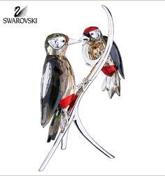 Swarovski Crystal Figurine WOODPECKERS Black Diamond Birds #5155663