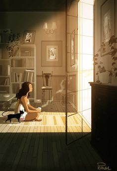 Pascal Campion「Ambitions -Tumbled out of bed and stumbled to the kitchen Poured myself a cup of ambition」 Pascal Campion, Aesthetic Art, Cat Art, Digital Illustration, Amazing Art, Art Drawings, Concept Art, Anime Art, Graffiti