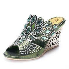 0bc830aeb Unicoratha Womens Rhombus Shaped with Crystal Rhinestones Slip on Party  Dress Wedge Sandals Green 105 M. Mid Heel ...
