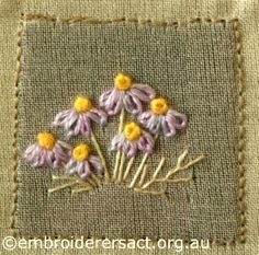 Purple and Gold Brachycome from Australian Landscape and Flora stitched by Lorna Loveland
