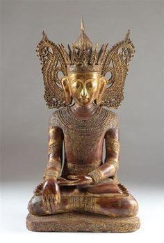 Statue de Buddha assis, Thaïlande. Bois doré. Importante représentation