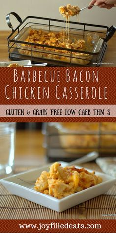 Barbecue Bacon Chicken Casserole - Another delicious low carb, gluten and grain free, THM friendly casserole has arrived. This has the smoky flavor of barbecue, bacon, and cheddar.