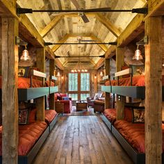 Rustic Bunk room with plenty of space for family and guests. Rustic Bunk room with plenty of space for family and guests. Cabin Homes, Log Homes, Future House, Haus Am See, Cabin In The Woods, Bunk Rooms, Christmas Bedroom, Rustic Christmas, Christmas Lights