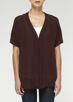 Vince Pleated Front V-Neck Blouse