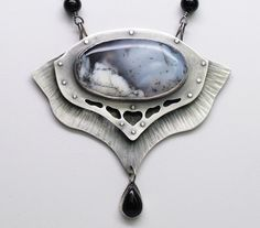 Above The Clouds Necklace~ Sterling Silver, Dendritic Opal and Onyx ~ Handmade, One-Of-A-Kind, Boho, Statement