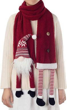 APCHFIOG Fashion Scarf Winter Warm Scarves Long Christmas Scarf Cashmere Feel Shawl Holiday Decorations Gifts for Women Men (Christmas Gnome) at Amazon Women's Clothing store