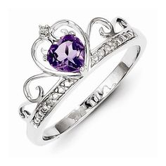 This beautiful ring is crafted of 925 Sterling Silver with Rhodium Plating for tarnish resistance, in a swirling princess tiara design.  It features a heart sha