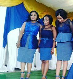 Newest Shweshwe Fashion Style for This season 2019 - Reny styles African Attire, African Wear, African Fashion Dresses, African Women, African Dress, African Traditional Wedding Dress, Shweshwe Dresses, Designer Dresses, Peplum Dress