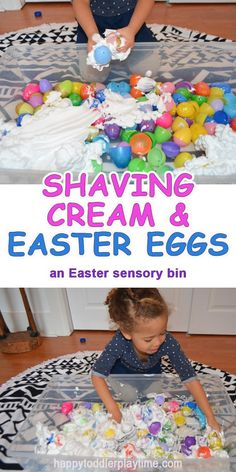 Shaving Cream & Easter Eggs Sensory Bin -- Plastic Easter eggs and shaving cream are the perfect combination of STEM and sensory play. Let your child explore with their senses while building! Easter Activities For Toddlers, Toddler Learning Activities, Easter Crafts For Kids, Infant Activities, Preschool Activities, Easter Ideas, Easter For Babies, Babysitting Activities, Spring Activities