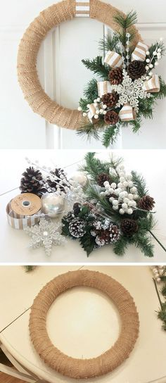 Burlap Christmas Wreath Tutorial DIY Christmas Wreaths for Front Door Easy Christmas Decorating Ideas 2014 Noel Christmas, Rustic Christmas, Simple Christmas, Christmas Crafts, Christmas 2019, Handmade Christmas, Christmas Ornaments, Christmas Reath, Elegant Christmas