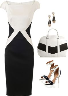 Talbot Runhof: slimming black and white shift dress.