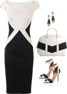 Talbot Runhof: slimming black and white shift dress.