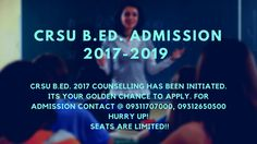CRSU admission 2017-19 gonna be held early. Seats are limited, hurry up to block your seats. CRSU Jind is an Haryana Government University which has started counselling for B.Ed 2017-19. CRSU B.Ed 2017-19 eligibility criteria - UG/ PG with 50% aggregate from recognized university. CRSU B.Ed 2017-19 course duration will be for 2 years. CRSU B.Ed 2017 Syllabus are available. Contact @ +919311707000, +919540707000.