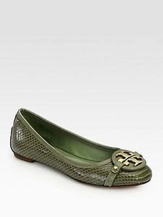 #Tory Burch Aaden Snake-Print Leather Ballet Flats