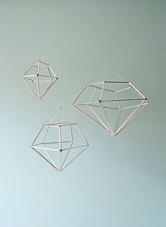 DIY hanging diamond decor from contributor kathleen Now wouldn't these be pretty covered with colored cellophane, tissue paper or vellum?