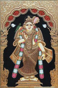 Tanjore painting of goddess.