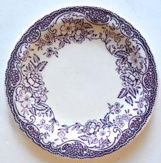 Rare! Lavender Purple Transferware Butter Pat or Pin Dish / Miniature Childs Tea Plate