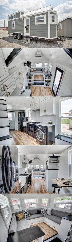 A 24' modern tiny house with black stainless steel appliances, white quartz countertops, and a raised couch platform with expansive storage space.