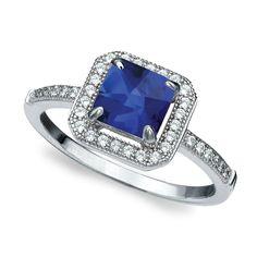 I love my birthstone. CRISLU Micro Pavé Sapphire Ring.