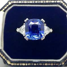This is an incredible certificated Ceylon sapphire. This sapphire has no heat treatment and is set with an carat trillion cut diamond on each shoulder. The metal used is platinum. Ceylon Sapphire, Sapphire Diamond, Bespoke Jewellery, Diamond Cuts, Shoulder, Metal, Rings, Unique, Projects
