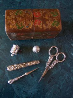 SEWING SET/ETUI ~ Antique Lady's Companion Sewing Set ~ Sterling Silver ~  English ~ Circa 1850's at Vintage Pleasures on Ruby Lane.