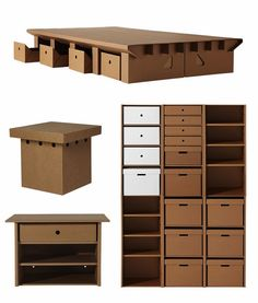DIY cardboard furniture design original storage ideas carboard shelves storage boxes desk table