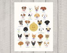 Dog Alphabet  Nursery Art Print by HappyTailPrints on Etsy, $15.00