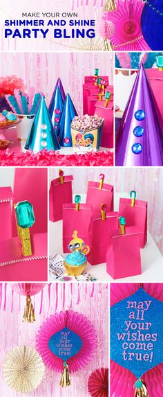 Crystals and gems and jewels, oh my! If you're planning a Shimmer and Shine birthday party for your preschooler, you'll want to be sure to include at least SOME well-placed bling.  Take a look at these DIY bejeweled party hats, goody bag clothespins, and hanging decorations to lend you some inspiration. So easy to make, with so much shimmering, shining payoff!