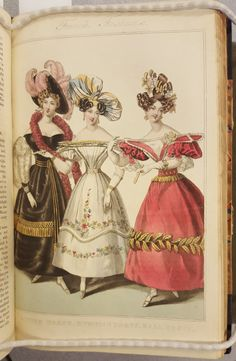 La Belle assemblée: or, Bell's court and fashionable magazine. London: J. Bell [etc.]. AP4 .B438  Series 3 Volume 6, February 1830  French Fashions: Dinner Dress. Evening Dress. Ball Dress.