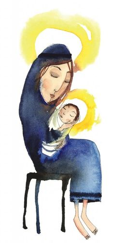 Piet Grobler Watercolor Illustration, Watercolor Paintings, South African Art, Madonna And Child, Freelance Illustrator, Mother And Child, Paint Designs, Figure Painting, Halo