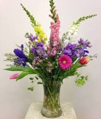 Friends love this mixed floral arrangement popping with explosive bursts of color! *All floral arrangements may vary in color, flower selection, and product based upon availability. Pricing can be customized. Wild Flower Arrangements, Palm Sunday, Friends In Love, Wild Flowers, Glass Vase, Floral Design, Bouquet, Rustic, Spring