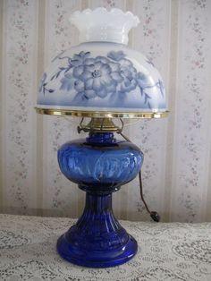 Antique Blue Cobalt Glass Table Lamp Hand Painted Shade Blue Florals Gorgeous!!