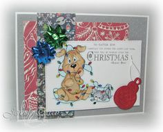 Glitter in my Hair: Aud Sentiments #141: Christmas, stitchy bear stamps, funny christmas card, cute christmas card, pet christmas, stitchy bear, stitchybear