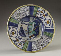 Musée d'Ecouen/ Plat Diane chasseresse. ECL2452. 16°s. Italie (origine). Faïence.