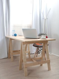 Simple Small Home Office Furniture Decoration With DIY Wood Trestle Desk With Wood Leg Fabric Accent Chair And Glass Window With White Curtains Ideas, Trestle Desk Furniture Small Home Office Furniture, Kids Furniture, Furniture Decor, Bedroom Furniture, Furniture Sets, Diy Computer Desk, Diy Desk, Small Computer, Computer Rack